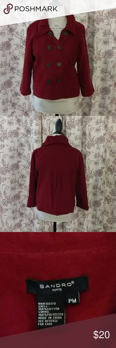 Sandro of Paris red corduroy cropped blazer Perfect for Fall! 3/4 sleeve red corduroy swing blazer with brown buttons and pockets.. Fully lined.  EUC! Sandro Jackets & Coats Blazers