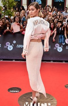Pin for Later: The 25 Best Outfits Gigi Hadid Wore This Year At the Much Music Video Awards #Hadid was forever seared in our minds when Gigi rocked this cool custom jacket on the red carpet.