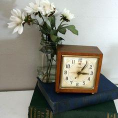 Vintage wood cased clock on Etsy