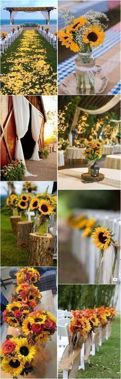 Rustic Weddings » 23 Bright Sunflower Wedding Decoration Ideas For Your Rustic Wedding! » ❤️ See more: http://www.weddinginclude.com/2017/04/sunflower-wedding-decoration-ideas-for-your-rustic-wedding/ #weddingdecorations #rusticweddings