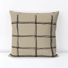 Wilderness Ribbon© Lines- Taupe© - 18 x 18 / Outdoor Canvas / Taupe, Black