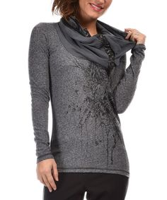 Loving this Gray Printed Cowl-Neck Top on #zulily! #zulilyfinds