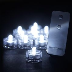 Submersible Waterproof Light RGB Remote Controlled LED for Vase Wedding Party Fish Tank-White-12pcs