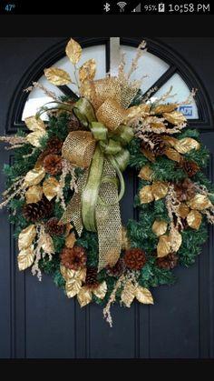 Gold & pine wreath Christmas Drinks, Gold Christmas, Christmas Baubles, Christmas Colors, Christmas Door Wreaths, Christmas Decorations, Holiday Decor, Winter Wreaths, Handmade Decorations