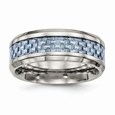 Titanium Polished Blue Carbon Fiber Inlay Ring