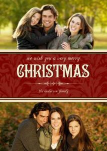 Mixbook Red Damask Collage Christmas Cards