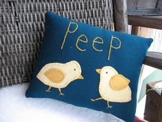 $11.95 Wool Peep Pillow