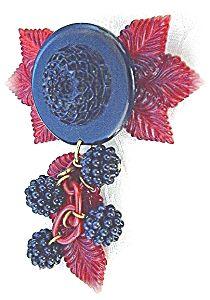 Red Leaves & Blackberries Bakelite Brooch