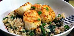 Risotto with scallops and asparagus (don't mix the asparagus in - just decorate on top of the dish - beautiful) - absolute favorite!