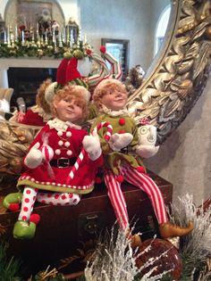 """Raz Boy And Girl Peppermint Christmas Elves 21"""""""