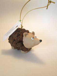 Hedgehog Pinecone Polymer Clay Ornament