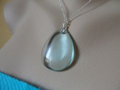 Large Aqua Quartz Necklace and Sterling by Jenalynscreations, $24.99