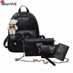 618ee5cd8237 4Pcs Set PU Leather Women Backpack Cute Bow School Bags For Teenage Girls Backpacks  Fashion
