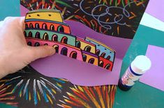 """On May 19, I led a """" pop-up card workshop """" to teach how to build a card pop-up inspired by roman arenas, particularly by the Colosseum..."""
