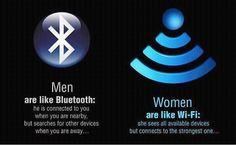 男人就像藍牙, 你在身邊他就處於連接狀態, 但你一走開他就搜尋其他外圍設備了。女人像wi-fi, 她們可以看到所有可連接的設備, 但只會選擇最好的一個。