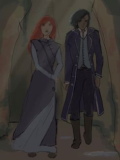"pandaaaart: ""sketch of shallan and kaladin in the chasms, hopefully i'll finish it """