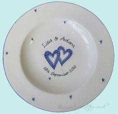 Blue hearts round platter