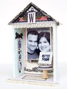 Decorative House        Construct and decorate a tiny house with family photos. Assemble the house using foam-core board and hot glue. Mount mini photos on chipboard rectangles and hang them from ribbon.