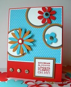 Retro themed Stampin' Up! birthday card using the Blossom Party dies (115971). Order Online: essentials.stampinup.net
