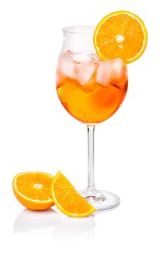 Aperol Spritz: 3 parts well-chilled prosecco, 2 parts Aperol, splash of tonic (or soda), orange slices for garnish