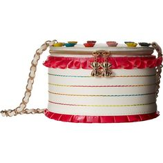 Betsey Johnson Slice of Life Shoulder Bag (Cream) Shoulder Handbags ($50) ❤ liked on Polyvore featuring bags, handbags, shoulder bags, beige, beige purse, faux leather purses, white handbags, white purse and beige handbags