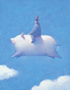 When Pigs Can Fly and Jump Over the Clouds with a Man in a Hat by Hiroshi Watanabe