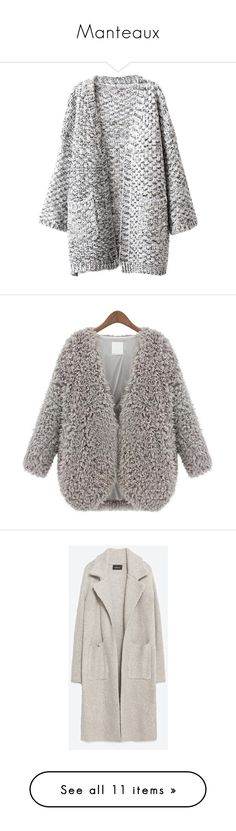 """""""Manteaux"""" by baabe-love ❤ liked on Polyvore featuring outerwear, coats, cardigans, jackets, long sleeve coat, grey, grey faux fur coat, leather-sleeve coats, short coat and gray coat"""