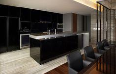 black enamel, stainless worktop kitchen