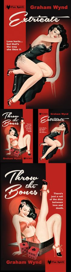 Extricate & Throw The Bones by Graham Wynd. 'Double A' pulp, noir book cover designs for Fox Spirit.