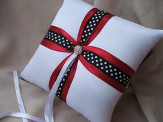 Ring Bearer Pillow Red Black White Polka Dot with by Allofyou, $29.00
