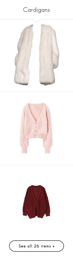 """""""Cardigans"""" by discochampion ❤ liked on Polyvore featuring outerwear, coats, jackets, tops, derek lam, derek lam coat, pink coat, white coat, cardigans and pink"""