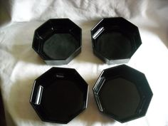 Set of 4 France Jet Black Glass Octagon Soup or Cereal Bowls for sale at Wenzel Thrifty NIckel ecrater store