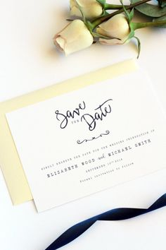 Brianna Sky Blue And Gold Save The Date Cards Modern Calligraphy