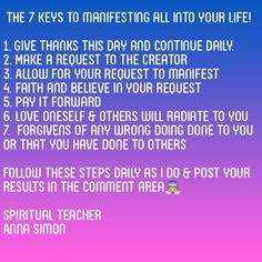 My 7 keys to manifest all into your life