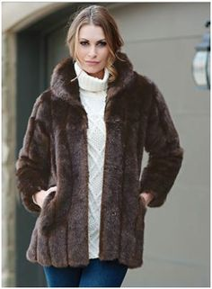 """Sable Classic Faux Fur Jacket. Casual yet elegant, this 26"""" Sable faux fur jacket has a flattering standup collar. Princess seams ensure a smooth, sleek fit. For more pics: www.imageshack.com"""