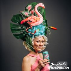Funky Hats, Crazy Hats, Floral Fascinators, Floral Headpiece, Blue And Green, Mint Blue, Flower Headdress, Leaf Flowers, Floral Flowers