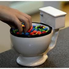 A toilet candy dish