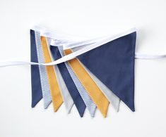 Blue Mustard Yellow Grey Fabric Bunting Garland Banner - Bedroom/Nursery/Party/Photoshoot Decor by FeteDesignsCanada on Etsy