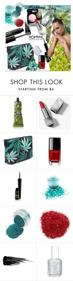 """Black Leaf Print Makeup Clutch Bag"" by pavicmartina ❤ liked on Polyvore featuring Aesop, Burberry, Chanel, Urban Decay, Essie and NARS Cosmetics"