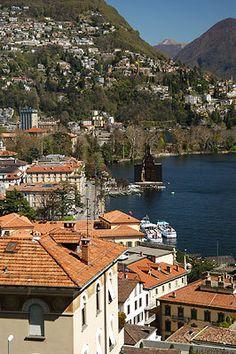 Aerial view of Lugano, SWITZERLAND. A delightful destination, mi-Suisse, mi-Italian. Wonderful views, charming old town, great music festivals.