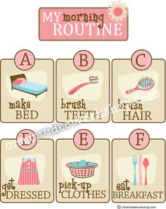 Printable Custom Morning Routine Chart  by CreativiDeeWorkshop, $5.00