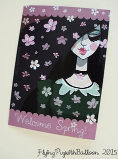 Greeting Card Cherry Blossom Girl, hand drawn, girl with cherryblossom flowers and green collared dress, spring celebration, lilac, emerald