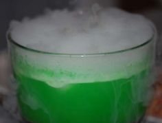 Non alcoholic punch with dry ice. Fun drink for the kids on Halloween