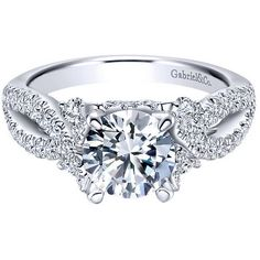 "Gabriel ""Clover"" 14K White Gold Pave Twist Split Shank Diamond... ($3,575) ❤ liked on Polyvore featuring jewelry, rings, engagement rings, 14k white gold ring, white gold engagement rings, 14k ring, diamond rings and twisted diamond ring"