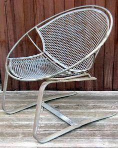 SALTERINI Vintage RADAR BOUNCER Wrought Iron Spring Base Clam Shell Chair - 1950's Original Patina - Maurizio Tempestini