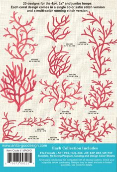Crewel Embroidery Design Fashion Coral is the latest trend in fashion and home decor, we are seeing it in every catalog we open. Here are two types of coral for you to enjoy. The first type is designed to be three colors a. Crewel Embroidery Kits, Embroidery Needles, Cross Stitch Embroidery, Machine Embroidery Designs, Embroidery Patterns, Ribbon Embroidery, Diy Broderie, Embroidery Techniques, Needlework