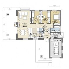Hawana II - Dobre Domy Flak & Abramowicz My House, House Plans, Floor Plans, House Design, How To Plan, Arquitetura, Country Houses, Home Plans, Future House