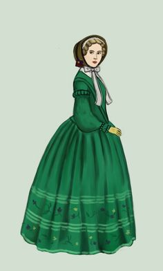 """1850 by Tadarida.deviantart.com on @deviantART - From the artist's comments: """"Skirts are bell-shaped and their width increases. In 1856 steel cage crinoline is invented."""""""