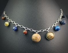 Gemstone Solar System Charm Bracelet Space-Jewelry.com
