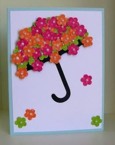 New baby cards handmade cricut stampin up ideas Baby Cards, Kids Cards, Umbrella Cards, Cricut Cards, Paper Cards, Spring Crafts, Flower Cards, Creative Cards, Cute Cards